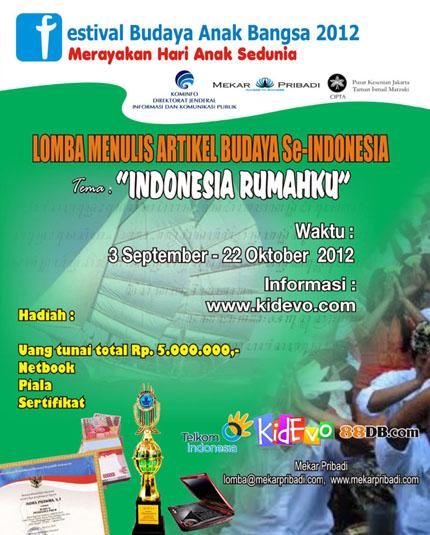Syarat Lomba Menulis Artikel Budaya se-Indonesia